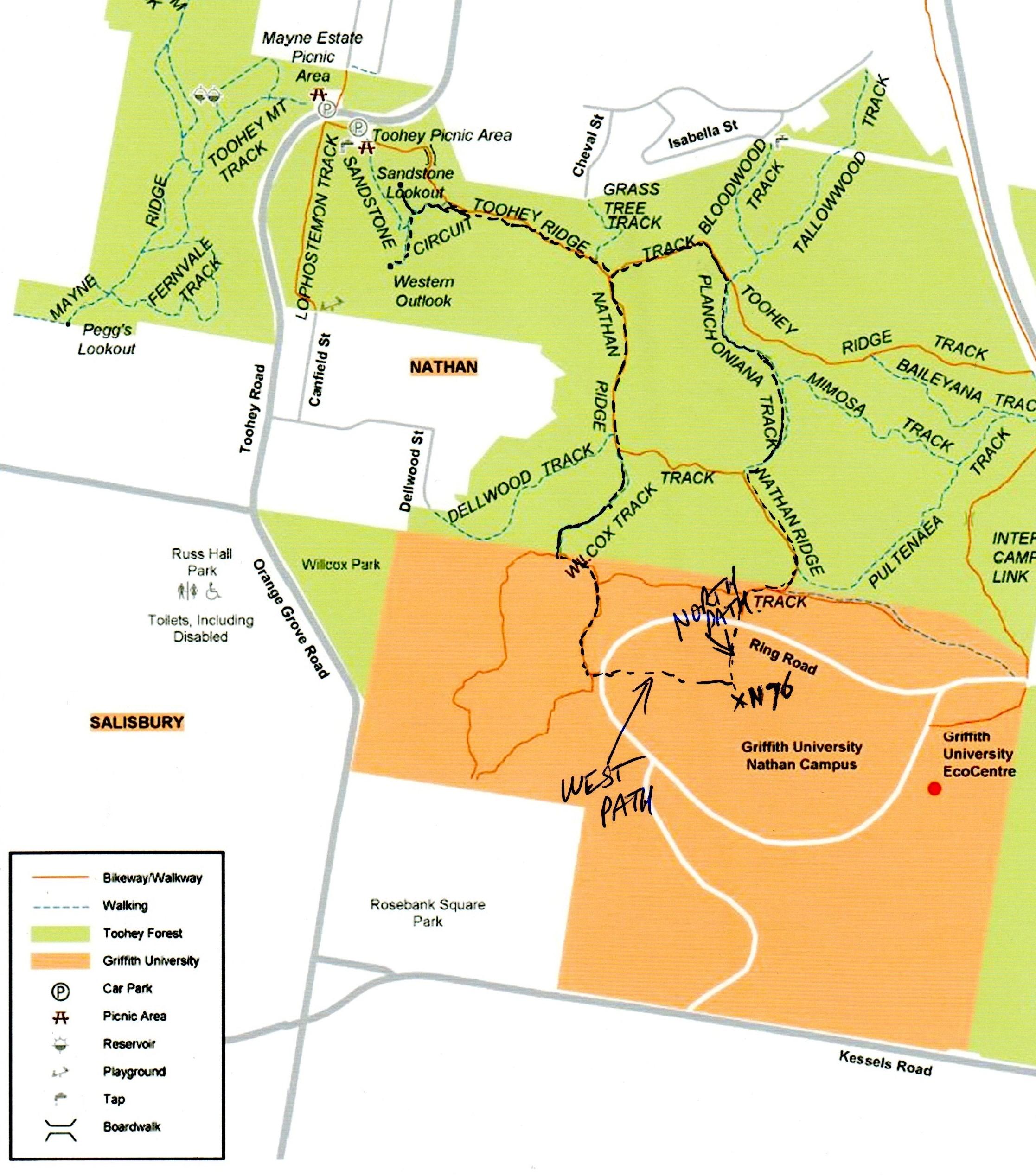 Griffith Mates Bushwalk - Map
