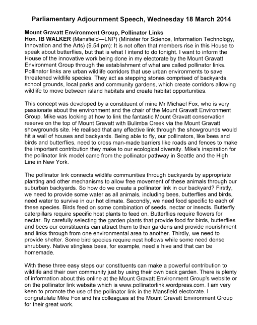 Ian Walker - State Parliament - 18 March 2014