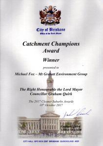Catchment Champions Award - Oct 2017